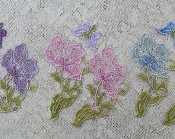 Purple Lace Flower Hand Dyed Venise Crazy Quilt Applique Embellishment