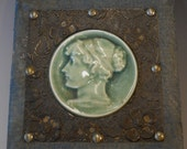 Pair of Victorian Cameo Pictures, Embossed Tin Frame, Blue Velvet Frame, Cameo Home Decor