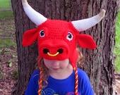 Crochet Bull Hat  ~  Made-to-order