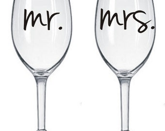 DIY Mr and Mrs Decals Wine Glasses for Wedding Bride * Rehearsal Dinner * Decal Set * Save Money * Bride and Groom Decals