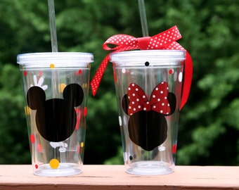 Personalized Mickey Mouse and Minnie Mouse 16oz Insulated cups with polka dots and gloves
