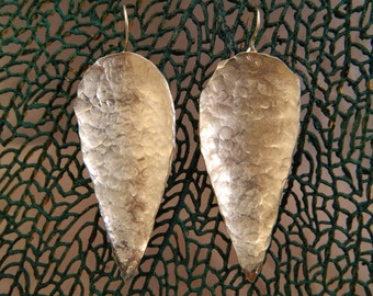 Hammered Silver Leaf Earrings texture dangle hanging light handmade artisan jewelry ear wire pear tear drop statement jewelry