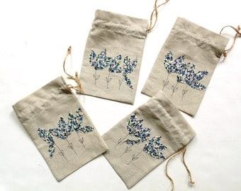 Gift bag, linen drawstring pouch, bridesmaids gift, summer bridal shower, blue appliqued flowers, summer wedding, linen gift bag