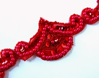 5 Red Sequin and Pearls Trim Appliques, NOS