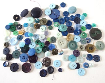 132 Assorted Blue and Green Buttons Collection