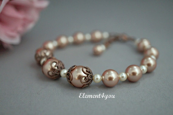 Bridesmaid bracelet, Fall wedding bride, Autumn jewelry, Beaded pearl bracelet, Champagne pearls, Antique copper filigree, Vintage style