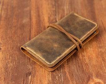 Personalized Vintage distressed genuine real leather iPhone 6s Case / Iphone 6s wallet cover / iPhone 6s Plus Wallet case -IP005WS