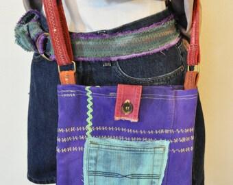 Violet Purple Dyed Denim Handbag Satchel - Hand Made Urban Unique Dyed Upcycled Denim Handbag Over the Shoulder Messenger Book Bag Tote 32