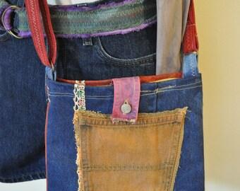 Blue Red Dyed Denim Handbag Satchel - Hand Made Urban Unique Dyed Upcycled Denim Handbag Over the Shoulder Messenger Book Bag Tote 35