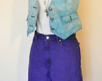 Violet Sz 8 Levis Denim SHORTS - Deep Purple Dyed Denim Distressed Levis High Waist Denim Jean Shorts - Adult Womens Size 8 (30 Waist)
