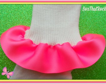 Sale! Hot Neon Pink ruffle socks - this seasons must have color in clothing and accessories - in baby, infant, toddler, girls and teen sizes