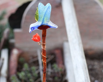 Glass bird plant stake, indoor garden art, glass yard art