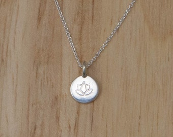 Silver Lotus Necklace - Tiny Sterling Small Yoga Charm Pendant - Flower Om Delicate Dainty - Simple Everyday Minimalist Layered Layering Ohm