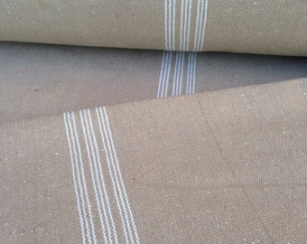 Grain Sack Fabric White Stripes Tan Vintage Inspired Sold By The Yard Feed Sack Fabric Flour Sack Fabric Gunny Sack Fabric Grain Sack Repro