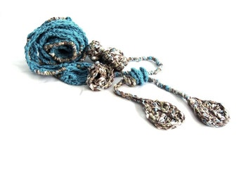 Blue scarf freeform crochet long fiber art, Extra long plus size belt spring,