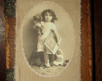 Vintage Lace Collage Tag Extra Large Sweet Girl and her Teddy Bear toys