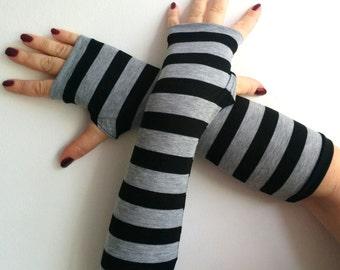 Fingerless black with gray strips long gloves