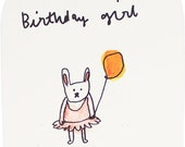 Birthday Bunny Girl Card - An Original Illustration, 100% recycled, Handmade in Manchester, England