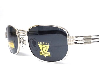 vintage 1990's NOS square silver metal sunglasses black lenses mens womens fashion accessories accessory sun glasses retro modern shiny new