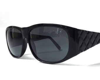 vintage 1990's NOS matte black plastic sunglasses quilted diamonds lenses womens fashion accessories accessory sun glasses retro modern new