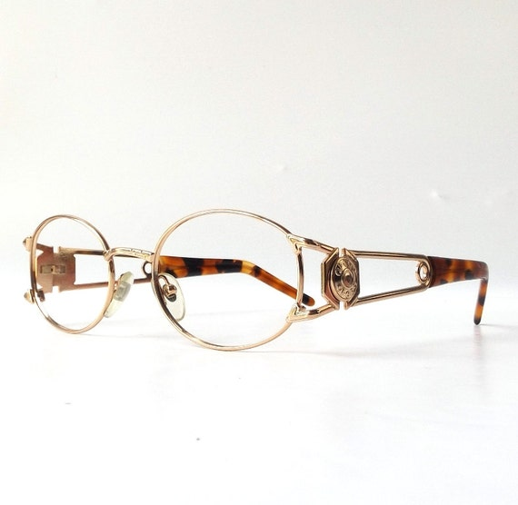 Gold Metal Glasses Frames : vintage 1990s NOS oval gold metal eyeglasses frames