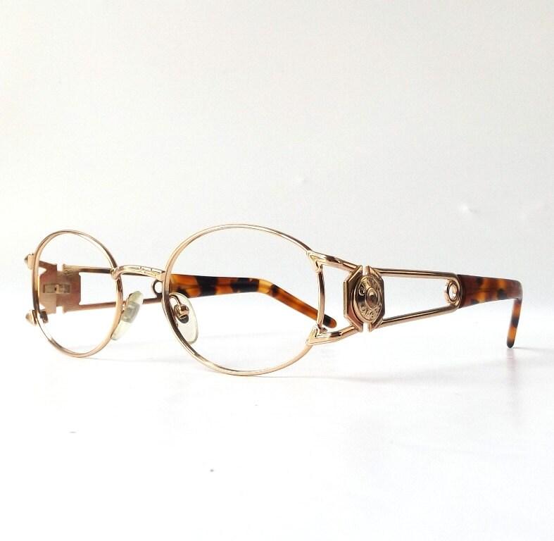 Gold Metal Eyeglass Frames : vintage 1990s NOS oval gold metal eyeglasses frames