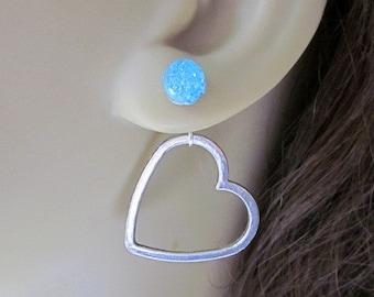Silver Heart Behind the Ear Earrings - Blue Druzy Studs