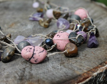 Purple Romantic Necklace / Pink Gemstone Jewelry / Fluorite Necklace / Dusty Rose Necklace / Romantic Jewelry / Amethyst Necklace Healing
