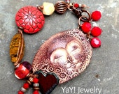 Love Infinitum Face Bracelet, Angel Whisperer, Red, Heart, Knotted Bracelet, Lampwork, Earthy Spiritual Jewelry by YaY Jewelry