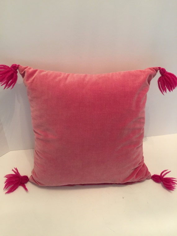 Vintage Pink Velvet Throw Pillow with Tassels