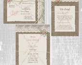 Tie the Knot Wedding Invitation Set, Burlap and Lace Wedding Invitation, Rustic Wedding Invite, Printable Wedding Invitation Package