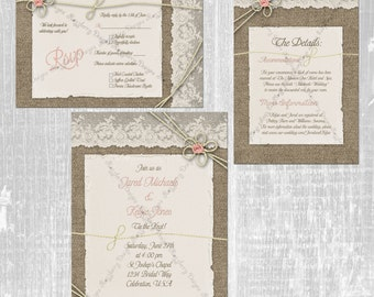 Tie The Knot Wedding Invitation Set, Burlap And Lace Wedding Invitation,  Rustic Wedding Invite