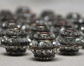 13 mm X 12 mm Vintage Rhinestone Brass Beads Large Classic Gold Tone 1 Piece