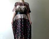 Multicolored Loose fitted dress/oversized/plus size kaftan dress/cover up dress/batik dye dress
