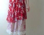 Boho Chic vintage inspired Upcycled Clothing maxi dress /Medium Large Top Sleeveless Tunic Eco Fashion