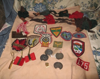 Vintage collection    BOY SCOUTS of America cap and   patches brass tie slides golden pin  suspenders braces