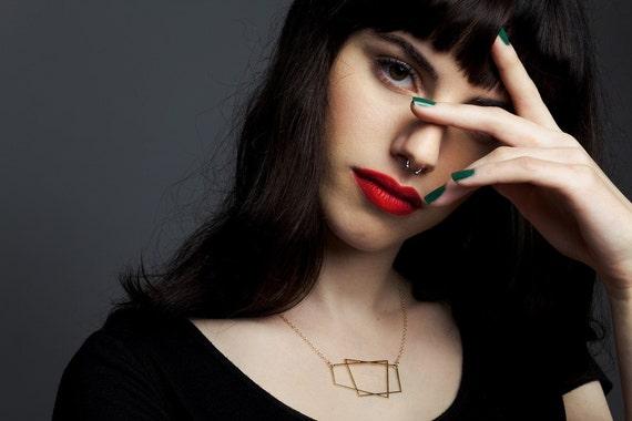 trapezoid necklace, geometric jewelry, geometric necklace, trapezoid