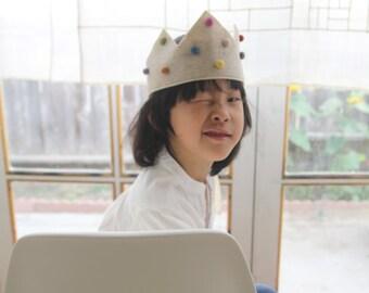 Wool Pompoms Dingleberries Felt Woodland Crown for Children