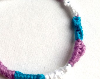 Handmade Friendship Bracelet Blue Turquoise White Lavender Purple- Limited Edition