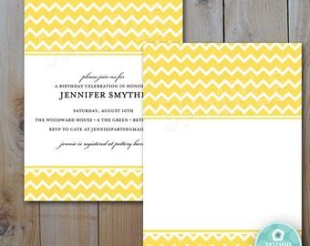 Yellow Chevron Invitation / Printable Invitation / Instant Download / INVITATION TEMPLATE / Color 152