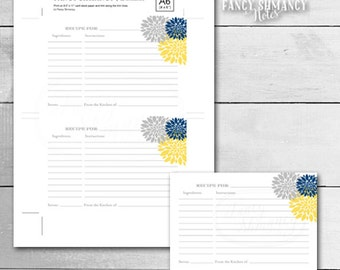 Printable Recipe Card /Blue Yellow Grey PomPom / Instant Download / PRINTABLE / 1152