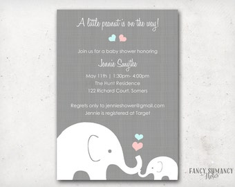 Elephant Baby Shower Invitation, Little Peanut Elephant  Pink and Blue Hearts, Gender Neutral Design, PRINTABLE  INVITATION #10205