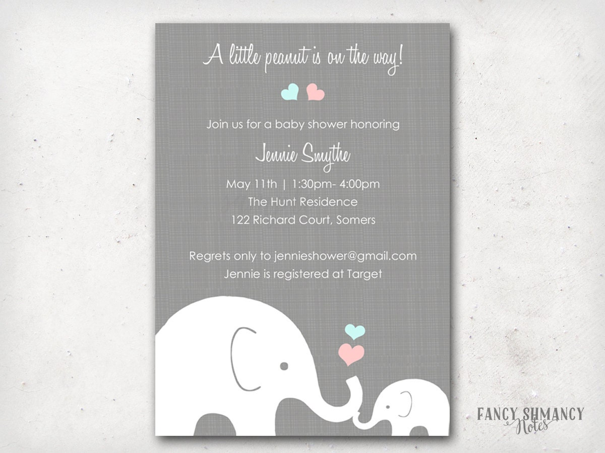 elephant baby shower invitation / little peanut elephant and by, Baby shower