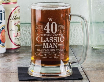 40th Birthday Classic Man 16Oz Beer Stein Mug Engraved Present for Him Gift Idea Etched Funny 40 Birthday from Son Daugther Father Present