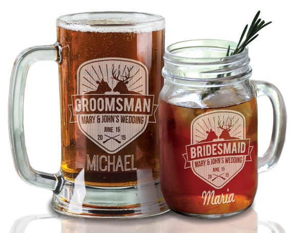 ... Beer Mugs Mason Camo Wedding Barn Hunting Groomsmen Personalized Gift