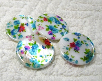 Shell Beads - Flat Round Flower/Multi-Colored  - Shell Disc Beads - (25mm x 4mm) - (4 Pcs) - B-1606