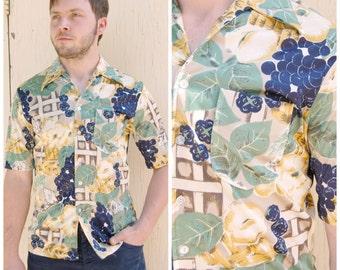 70s Medium Poly Grape Shirt - Novelty Print Grapes - Disco Shirt