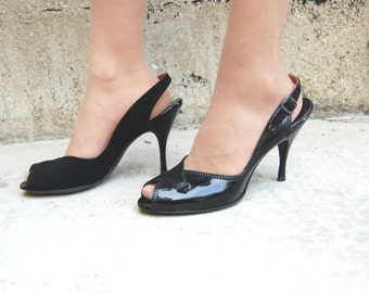 ON SALE Size 8AA Patent Black Leather Sling Back Heels - Open Toed Heel late 50s early 60s