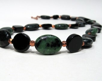 Necklace with Ruby zooite, onyx & copper , Onyx necklace, copper necklace, black necklace