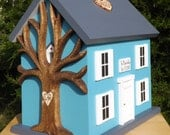 Medium Wedding Card Box Birdhouse with Heart Carved Tree